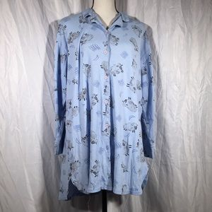 Hanes Blue Sheep Print Button Down Night Shirt 🦖
